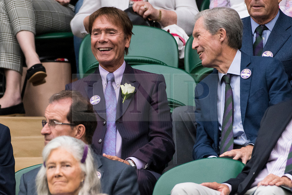 © Licensed to London News Pictures. 01/07/2016.SIR CLIFF RICHARD watches centre court tennis on the fifth day of the WIMBLEDON Lawn Tennis Championships. London, UK. Photo credit: Ray Tang/LNP