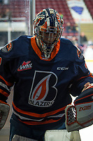 KELOWNA, BC - DECEMBER 27:  Dylan Garand #31 of the Kamloops Blazers exits the ice after warm up against the Kelowna Rockets at Prospera Place on December 27, 2019 in Kelowna, Canada. (Photo by Marissa Baecker/Shoot the Breeze)