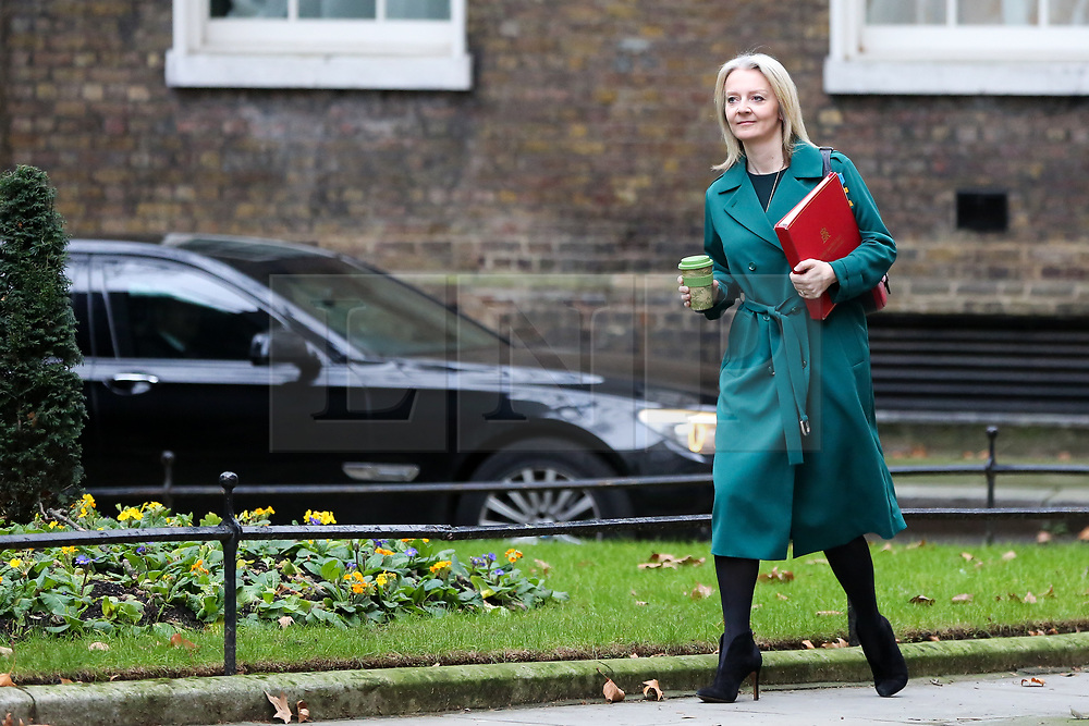 """© Licensed to London News Pictures. 18/12/2018. London, UK. Liz Truss - Chief Secretary to the Treasury arrives in Downing Street for the weekly Cabinet meeting. The Cabinet will discuss the preparations for a """"No Deal"""" Brexit. Photo credit: Dinendra Haria/LNP"""