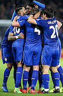 Leicester City players celebrate scoring a goal during the Premier League match at the King Power Stadium, Leicester<br /> Picture by Andy Kearns/Focus Images Ltd 0781 864 4264<br /> 27/02/2017