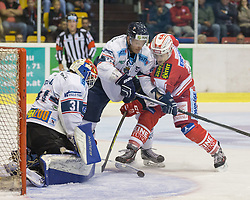 11.09.2015, Stadthalle, Klagenfurt, AUT, EBEL, EC KAC vs Fehervar AV 19, im Bild Miklos Rajna (Fehervar AV 19, #31), Attila Orban (Fehervar AV 19, #57), Manuel Geier (EC KAC, #21) // during the Erste Bank Eishockey League match betweeen EC KAC and Fehervar AV 19 at the City Hall in Klagenfurt, Austria on 2015/09/10. EXPA Pictures © 2015, PhotoCredit: EXPA/ Gert Steinthaler