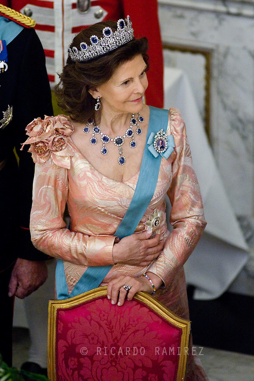 15.04.2015. Copenhagen, Denmark.Queen Silvia of Sweden during a Gala Dinner at Christiansborg Palace on the eve of The 75th Birthday of Queen Margrethe of Denmark.Photo:© Ricardo Ramirez