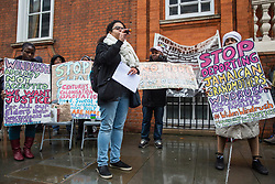 London, UK. 4th February, 2019. Antonia Bright of Movement for Justice addresses a protest outside the Jamaican High Commission against plans by the Home Office and Jamaican government to recommence mass deportation charter flights on 6th February. The enforced removals are reported to include people who came to the UK as children and parents with British children and the deportation flight would be the first since March 2017 and the Windrush scandal.