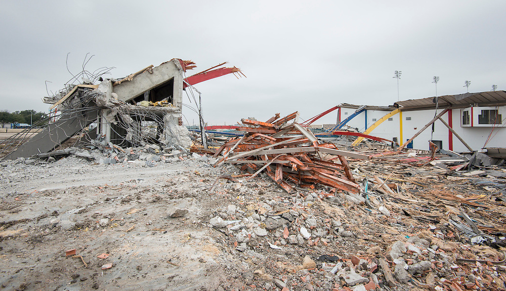 Workers continue the demolition of Delmar-Tusa Fieldhouse, January 27, 2014.