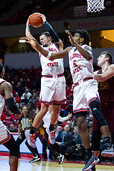NORMAL, IL - January 19: Ricky Torres and Keith Fisher III look to get the rebound during a college basketball game between the ISU Redbirds and the Loyola University Chicago Ramblers on January 19 2020 at Redbird Arena in Normal, IL. (Photo by Alan Look)