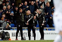 Oldham Athletic manager John Sheridan celebrates with his coaching staff after the opening goal - Mandatory by-line: Matt McNulty/JMP - 15/04/2017 - FOOTBALL - Boundary Park - Oldham, England - Oldham Athletic v Bolton Wanderers - Sky Bet League 1