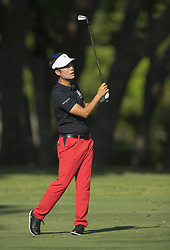 May 25, 2018 - Fort Worth, TX, USA - FORT WORTH, TX - MAY 25, 2018 - Kevin Na hits his approach to the 7th hole during the second round of the 2018 Fort Worth Invitational PGA at Colonial Country Club in Fort Worth, Texas (Credit Image: © Erich Schlegel via ZUMA Wire)