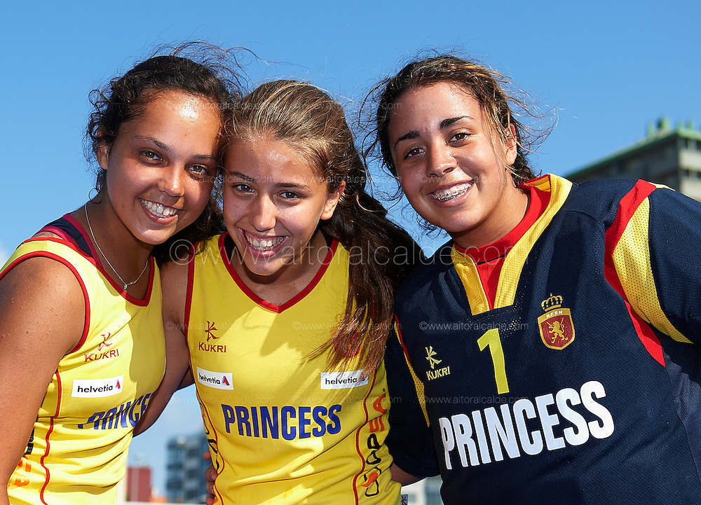 VALENCIA, SPAIN - JULY 8: Eurohockey Youth Championship  under 16 girls Valencia match between    at the verge del carme de betero on July 8, 2012 in Valencia, Spain. (Photo by Aitor Alcalde)