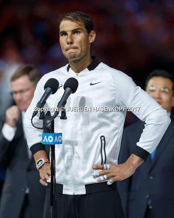 RAFAEL NADAL (ESP),Herren Finale,Siegerehrung,<br /> <br /> Australian Open 2017 -  Melbourne  Park - Melbourne - Victoria - Australia  - 29/01/2017.