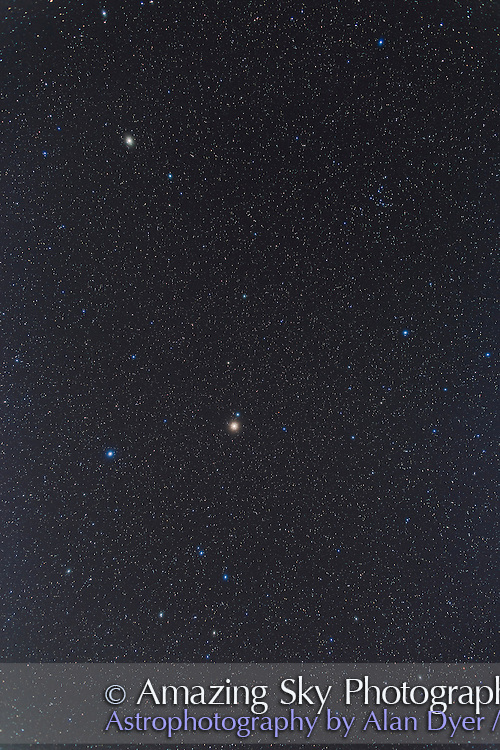 A swath of the northern spring sky from Bootes and Arcturus at top, down to Spica in Virgo at centre with red Mars to the right (west) of Spica. Below in the quadrilateral figure of Corvus. At upper right is the Coma Berenices open star cluster.<br /> <br /> I shot this from the Four Bar Cottages near Portal, Arizona, May 3, 2014. This is a stack of 4 x 2m15s exposures with the 24mm lens at f/2.8 and the Canon 6D at ISO 800 in moonlight from the crescent Moon. Additional exposures through the Kenko Softon filter added the star glows. Camera was on the iOptron SkyTracker.