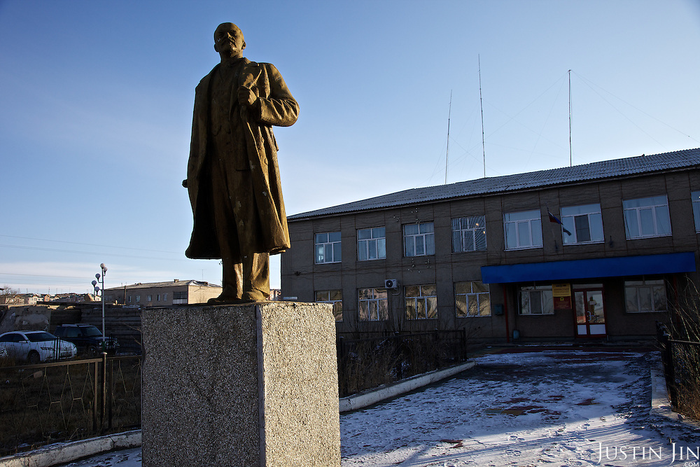 A statue of Lenin stands in front of the regional administration building in Zabaikalsk, a town on the Russian side of the Russian-Chinese border.