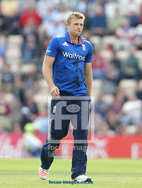 David Willey of England during the Royal London One Day Series match at the Ageas Bowl, West End<br /> Picture by Paul Terry/Focus Images Ltd +44 7545 642257<br /> 14/06/2015
