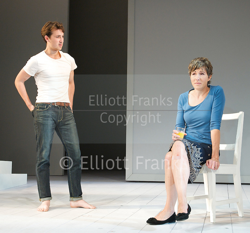 Jumpy <br /> by April De Angelis<br /> directed by Nina Raine<br /> Designed by Lizzie Clachan<br /> at The Duke of York's Theatre, London, Great Britain <br /> Press photocall<br /> 24th August 2012 <br /> <br /> Tamsin Greig <br /> <br /> Ben Lloyd-Hughes<br /> <br /> Bel Powley <br /> <br /> Doon Mackichan <br /> <br /> <br /> Photograph by Elliott Franks