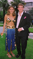 MISS KATHERINE BEARMAN and the HON.PEREGRINE HOOD,  at a ball in London on 23rd June 1998.MIS 31
