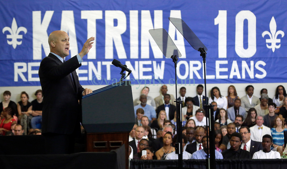 27 August 2015. Andrew P. Sanchez &amp; Copelin-Byrd Multi Service Center, Lower 9th Ward, New Orleans, Louisiana.<br /> Mayor Mitch Landrieu addresses the crowd before President Barack Obama speaks. <br /> Photo credit&copy;; Charlie Varley/varleypix.com.