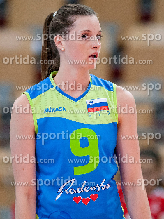 Iza Mlakar #9 of Slovenia during volleyball match between National Teams of Slovenia and Azerbaijan of 2014 CEV Volleyball European League Women - Pool A, on July 5, 2014, in Arena Ljudski vrt Lukna, Maribor, Slovenia, Slovenia. Photo by Urban Urbanc / Sportida