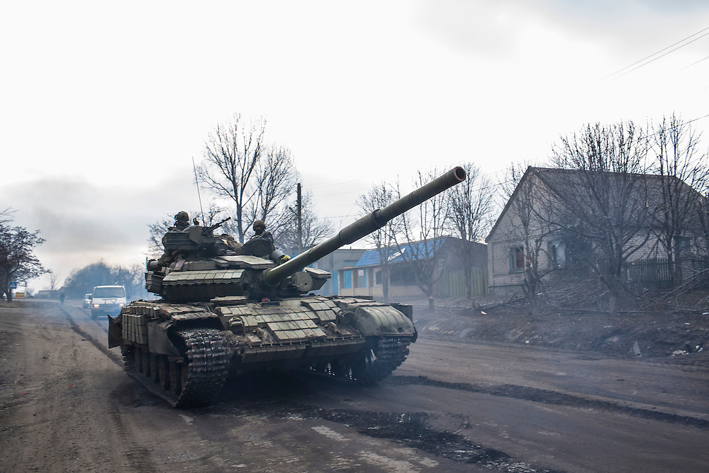 SVITLODARSK, UKRAINE - FEBRUARY 7, 2015: A Ukrainian tank at a checkpoint in Svitlodarsk, Ukraine. The village is along the only road leading from the heavily-damaged town of Debaltseve, which is Ukrainian controlled but surrounded by rebel forces on three sides. CREDIT: Brendan Hoffman for The New York Times
