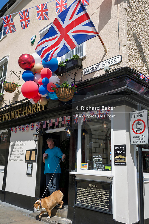 A British Bulldog with flags and balloons outside the Prince Harry pub in the old town of Windsor as it gets ready for the royal wedding between Prince Harry and his American fiance Meghan Markle, on 14th May 2018, in London, England. (Photo by Richard Baker / In Pictures via Getty Images)