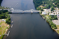 Aerial of Goodspeed Opera House and Turnstile Bridge over the Connecticut River, East Haddam, CT.