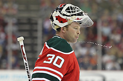 Mar 17; Newark, NJ, USA; New Jersey Devils goalie Martin Brodeur (30) during the second period of their game against the Pittsburgh Penguins at the Prudential Center.