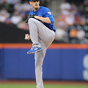 Pitcher Kyle Hendricks, Chicago Cubs, pitching during the New York Mets Vs Chicago Cubs MLB regular season baseball game at Citi Field, Queens, New York. USA. 14th April 2015. Photo Tim Clayton