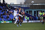 Tranmere Rovers' Steven Jennings clears the ball from Carlisle United&rsquo;s Brad Potts. Skybet football league 1 match, Tranmere Rovers v Carlisle United at Prenton Park in Birkenhead, England on Saturday 29th March 2014.<br /> pic by Chris Stading, Andrew Orchard sports photography.