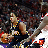 CHICAGO, IL - APR 18: Danny Granger #33 of the Indiana Pacers handles the ball against Luol Deng #9 of the Chicago Bulls  during game 2 of the Eastern Conference First Round at the United Center on April 18, 2011 in Chicago, IL. NOTE TO USER: User expressly acknowledges and agrees that, by downloading and or using this photograph, User is consenting to the terms and conditions of the Getty Images License Agreement. Mandatory Credit: 2011 NBAE (Photo by Chris Elise/NBAE via Getty Images)
