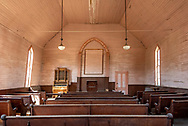 Inside the old Methodist church at Bodie State Historic Park, centered.