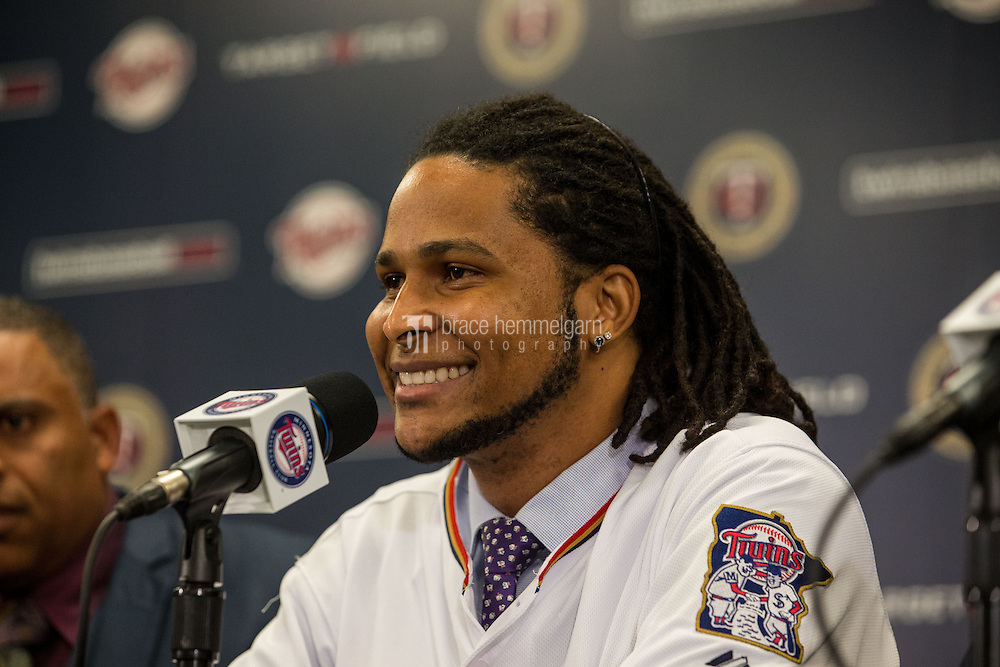 MINNEAPOLIS, MN- DECEMBER 13: Ervin Santana #54 of the Minnesota Twins is announced to the media during a press conference on December 13, 2014 at Target Field in Minneapolis, Minnesota. (Photo by Brace Hemmelgarn) *** Local Caption *** Ervin Santana