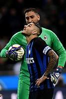 Mauro Icardi of Internazionale and Antonio Donnarumma of AC Milan react during the Serie A 2018/2019 football match between Fc Internazionale and AC Milan at Giuseppe Meazza stadium Allianz Stadium, Milano, October, 21, 2018 <br />  Foto Andrea Staccioli / Insidefoto