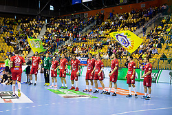 Players of Telekom Veszprem during handball match between RK Celje Pivovarna Lasko and Telekom Veszprem in 1st round of VELUX EHF Champions League, on September 16, 2017 in Arena Zlatorog, Celje, Slovenia. Photo by Ziga Zupan / Sportida