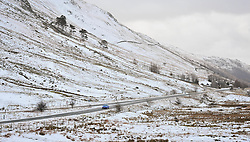 (c) Licenced to London News Pictures 23/02/2015. Thirlmere, Cumbria, UK. Snow in the fells and on the roads near Thirlmere in the Lake District. Photo credit : Harry Atkinson/LNP