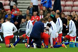 England physio Gary Lewin rubs a cream on to the back of Raheem Sterling  - Mandatory by-line: Matt McNulty/JMP - 27/05/2016 - FOOTBALL - Stadium of Light - Sunderland, United Kingdom - England v Australia - International Friendly
