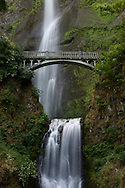 Water falls into a pool at the base of Multnomah Falls near Portland, Oregon. The waterfall is 620 feet tall.