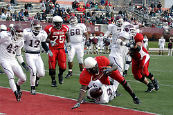 04 November 2006: Pierre Rembert stumbles into the end zone over Keith Reed for one of his 3 touchdowns. In a decisive victory, the Illinois State Redbirds defeat the Missouri State Bears 38-14 at Hancock Stadium on the campus of Illinois State University in Normal Illinois.<br />