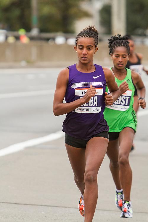 ING New York City Marathon: start of the elite (professional) women's race, Buzenesh Deba leads