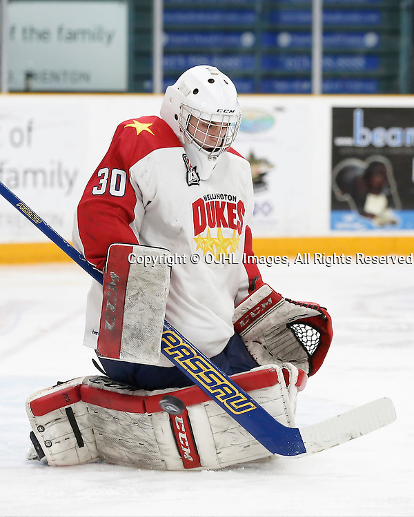 TRENTON, ON - JAN 24,  2017: Ontario Junior Hockey League action game between Aurora and Wellington at the 2017 Winter Showcase, Victor-Olivier Courchesne #30 of the Wellington Dukes makes the save during the second period<br /> (Photo by Amy Deroche / OJHL Images)