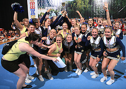 Winners TCS Smash Dragons, Finland (1st place in category Cheer all female - Senior) at final ceremony at second day of European Cheerleading Championship 2008, on July 6, 2008, in Arena Tivoli, Ljubljana, Slovenia. (Photo by Vid Ponikvar / Sportal Images).