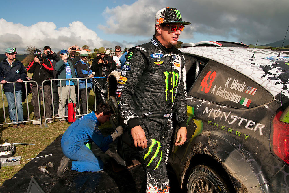 Ken Block, USA, at a service break on day one in the New Zealand round of the FIA World Rally Championship, Raglan, Hamilton,  New Zealand, Friday, June 22, 2012. Credit:SNPA / Malcolm Pullman