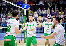 Gorazd Flisar of Panvita Pomgrad and other Players of Panvita celebrate during volleyball game between OK Panvita Pomgrad and ACH Volley in Final of 1st DOL Slovenian National Championship 2014, on April 15, 2014 in Murska Sobota, Slovenia. ACH won 3-1 and became Slovenian Volleyball Champion 2014. Photo by Vid Ponikvar / Sportida