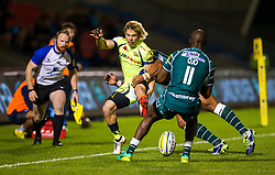 Faf de Klerk of Sale Sharks takes on Topsy Ojo of London Irish - Mandatory by-line: Matt McNulty/JMP - 15/09/2017 - RUGBY - AJ Bell Stadium - Sale, England - Sale Sharks v London Irish - Aviva Premiership