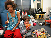 Emma and Jack hanging out eating pizza at his house, London, 2000's