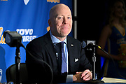 Mick Cronin is introduced as the UCLA Bruins new head basketball coach at a news conference on the campus in Los Angeles Wednesday, April 10, 2019. Cronin was hired as UCLA's basketball coach Tuesday, ending a bumpy, months-long search to find a replacement for the fired Steve Alford. The university said Cronin agreed to a $24 million, six-year deal. (Dylan Stewart/Image of Sport)