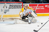 KELOWNA, CANADA - DECEMBER 3: Logan Thompson #1 of the Brandon Wheat Kings warms up in net against the Kelowna Rockets on December 3, 2016 at Prospera Place in Kelowna, British Columbia, Canada.  (Photo by Marissa Baecker/Shoot the Breeze)  *** Local Caption ***
