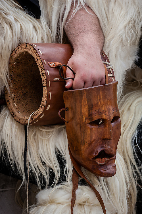 A mask of a Merdule, from the Boes e Merdules festival in Ottana, Sardinia, Italy.