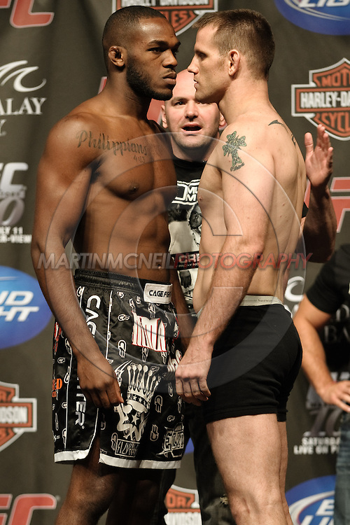 LAS VEGAS, NEVADA, JULY 10, 2009: Jon Jones (left) and Jake O'Brien face off during the weigh-in for UFC 100 inside the Mandalay Bay Events Center in Las Vegas, Nevada
