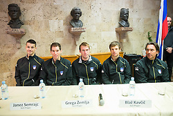 Team Slovenia: Mike Urbanija, Janez Semrajc, Grega Zemlja, Blaz Kavcic and Blaz Trupej  during draw ceremony of Davis cup - Slovenia vs Portugal on January 30, 2014 in City Hall Kranj, Slovenia. Photo by Vid Ponikvar / Sportida