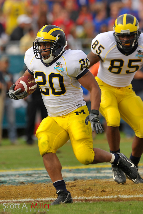 Jan. 1, 2008; Orlando, FL, USA; Michigan Wolverines running back Mike Hart (20) during the Wolverines 41-35 win over the Florida Gators in the Capital One Bowl at the Citrus Bowl...©2008 Scott A. Miller