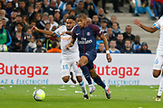 Jordan Amavi of Marseille and Kylian Mbappé of PSG during the French Championship Ligue 1 football match between Olympique de Marseille and Paris Saint-Germain on October 22, 2017 at Orange Velodrome stadium in Marseille, France - Photo Philippe Laurenson / ProSportsImages / DPPI