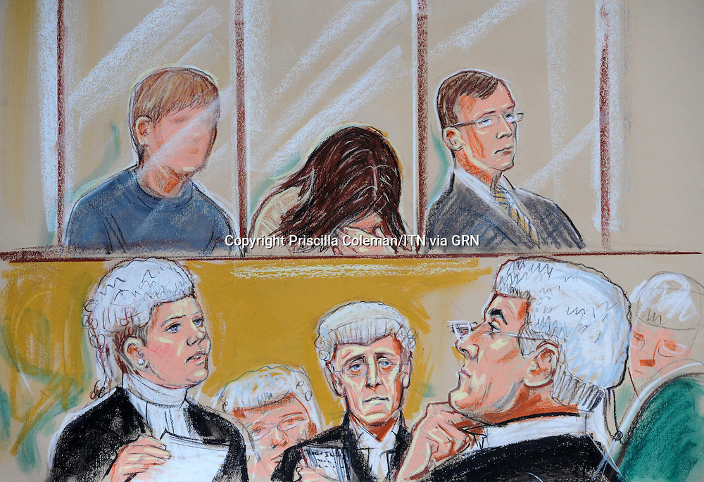 ARTWORK SHOWS: The mother and stepfather of 'Baby P' and their lodger Jason Owen, in the dock at the Old Bailey, where mitigation was given in the sentencing for allowing the death of 'Baby P'..The stepfather also faces sentencing for the anal rape of another child.
